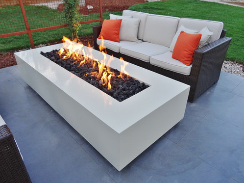 Wonderful Modern White Concrete Fire Table, Rectangle
