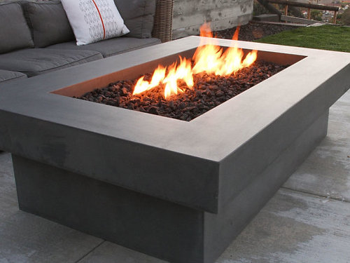 Rectangle Concrete Fire Table, Fire Pit