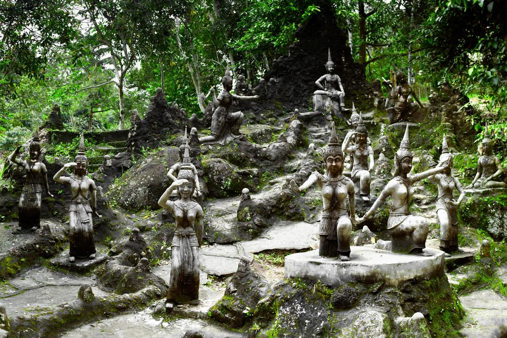 Amphitheater of angels statue in Buddha Magic Garden or Secret Buddha Garden. Koh Samui island, Thai