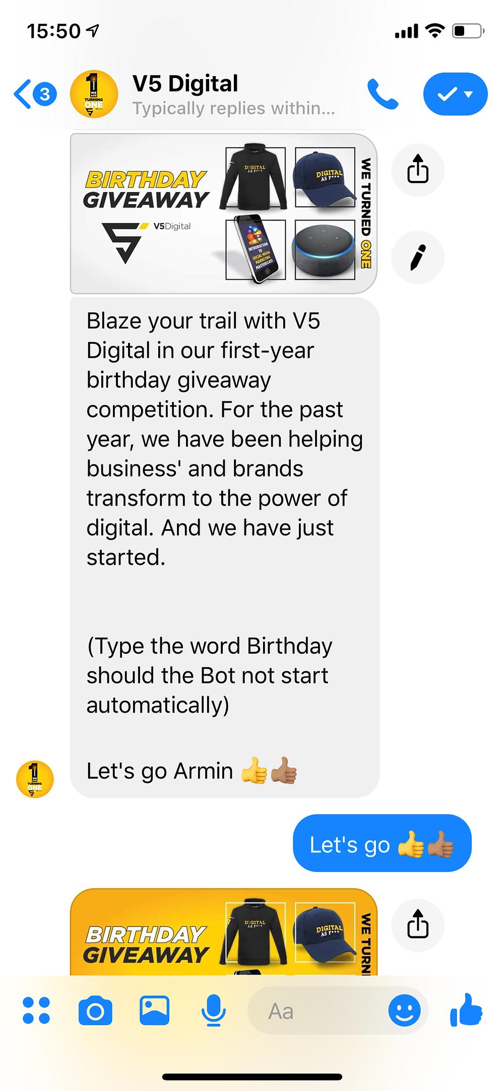 V5 Digital Birthday Facebook Bot