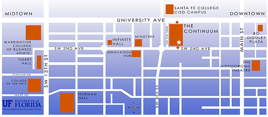 continuum area downtown gainesville map UF campus