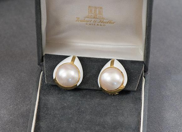 Vintage 18k Gold Enamel & Pearl  Clip-On Earrings