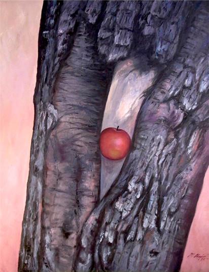 Foto: Manzana encantada / Autor Martha Chapa / oleo sobre tela