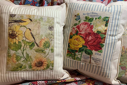 Ticking bordered Pillows
