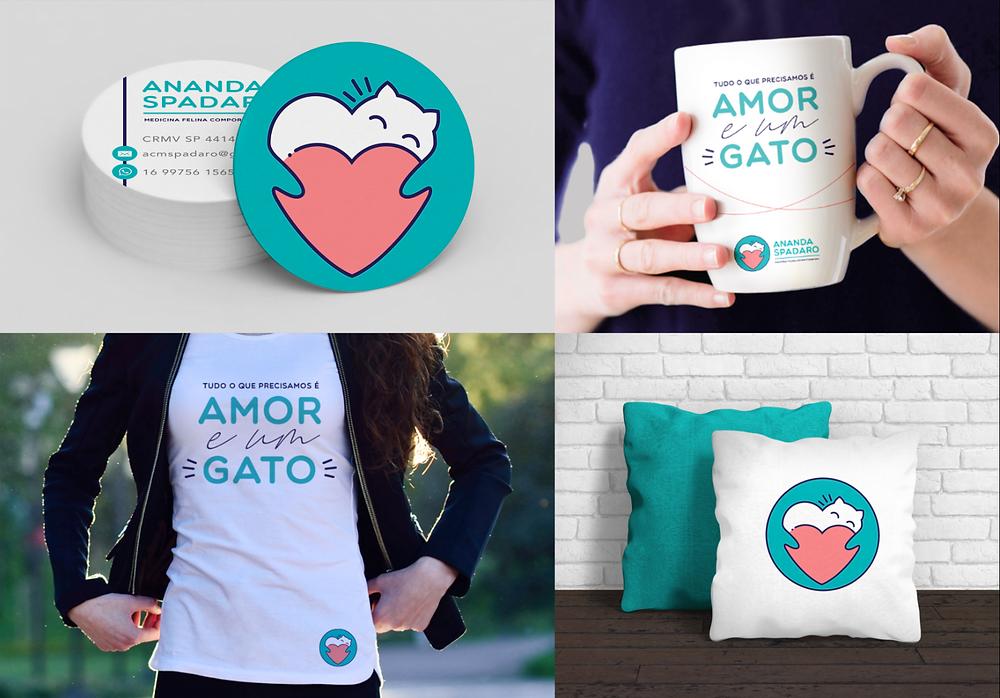 cartão de visita redondo, caneca, camiseta e almofada com a identidade visual da marca Ananda Spadaro