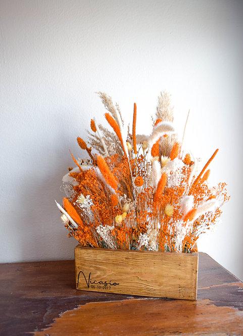 Caja personalizada tonos naranjas