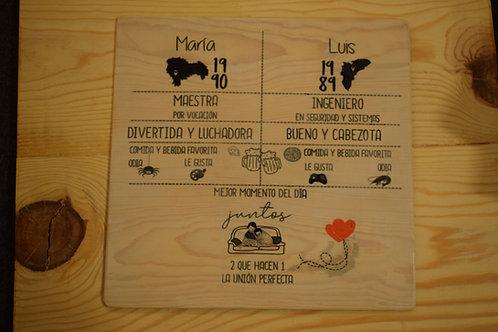 Lámina de madera personalizada