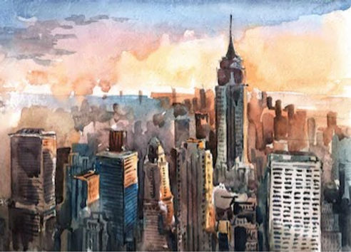 watercolor-manhattan-skyscrapers-sunset-