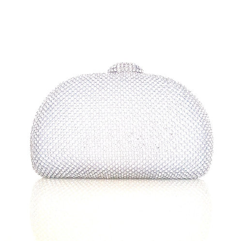 Hepburn Silver Crystal Clutch Bag