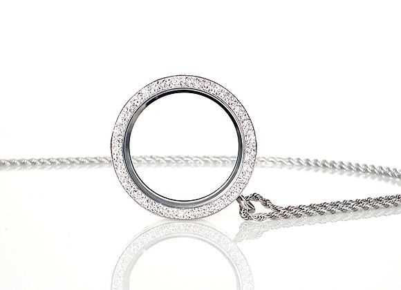 39mm (XXL) Double Crystal Silver Locket