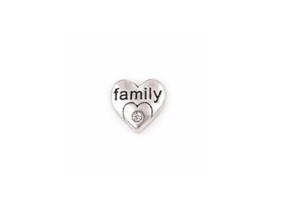 Family Crystal Heart Charm Silver