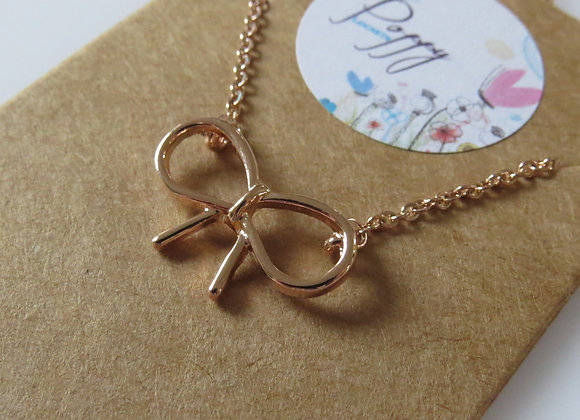 Bow Knot Necklace Rose Gold