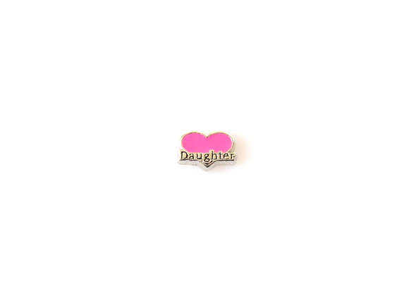 Daughter Heart Charm Pink