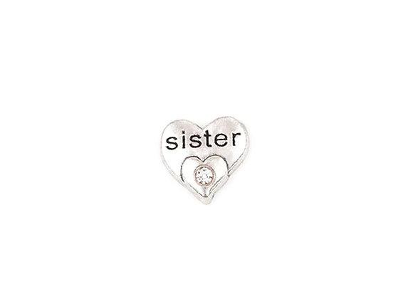 Sister Crystal Heart Charm- Silver