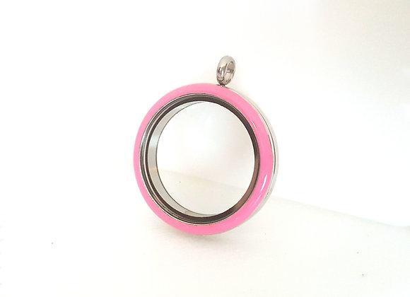 Silver Twist Locket with Pink Enamel Face