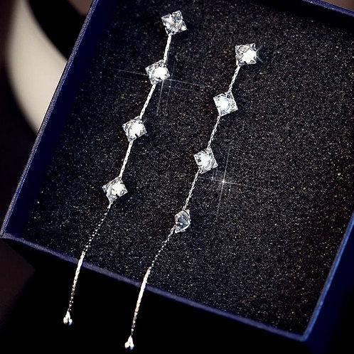 Sterling Silver Square Crystal Drop Earrings