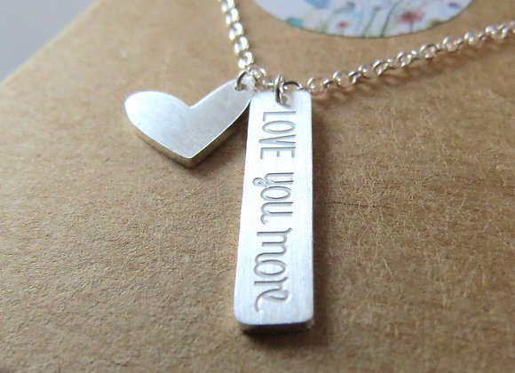 Love You More Necklace Silver