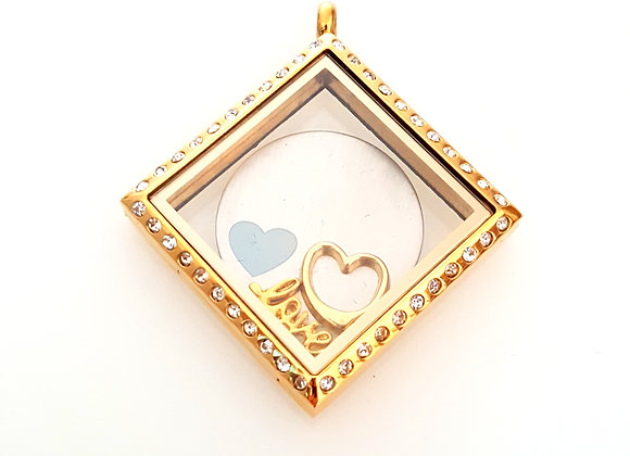 Gold Crystal Square Photo Locket
