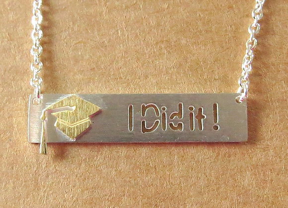 Graduation 'I Did It' Necklace Silver