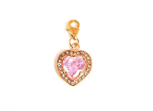Rose Gold & Pink Crystal Dangle Charm