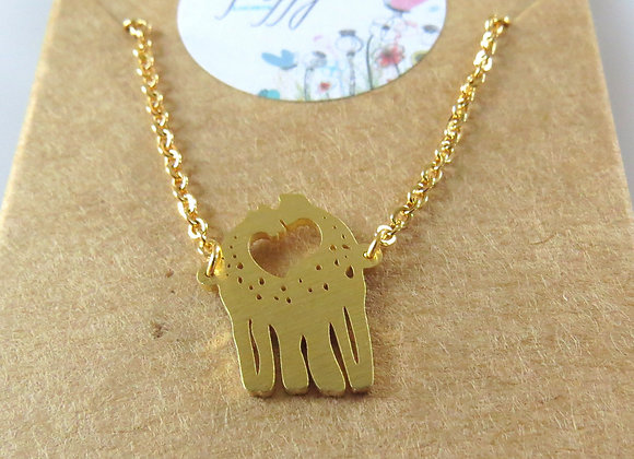 Giraffe Love Necklace Gold