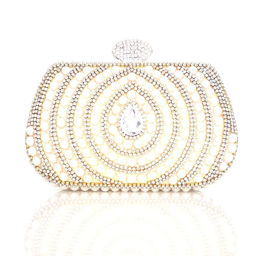 Monroe Gold Pearl & Crystal Clutch Bag