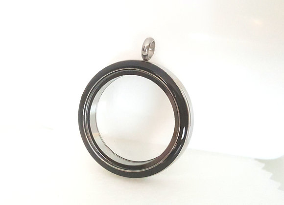 Silver Twist Locket with Black Enamel Face Keyring