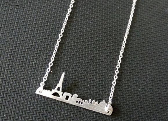 Paris Skyline Necklace Silver