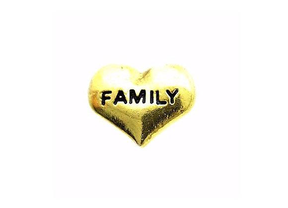 Family Heart Charm- Gold