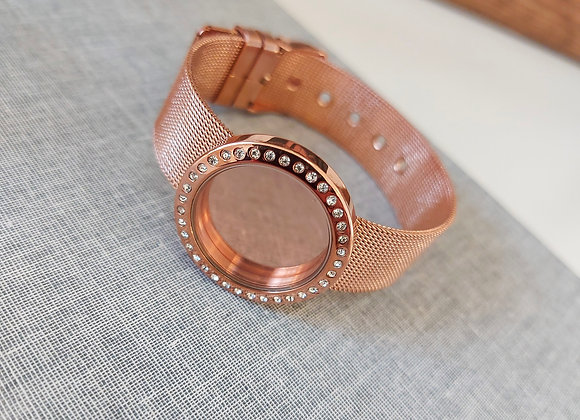 30mm Crystal Locket  Bracelet with Mesh Strap in Rose Gold