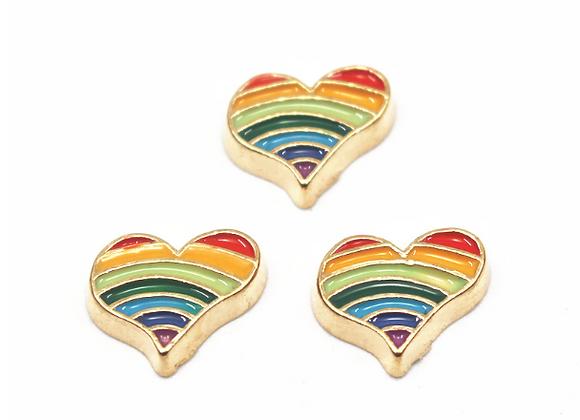 Rainbow Heart Charm Gold