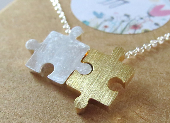 Jigsaw Necklace Silver