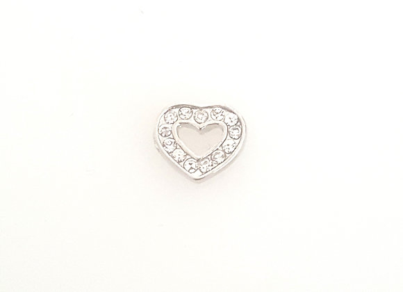 Silver Crystal Hallow Heart Charm