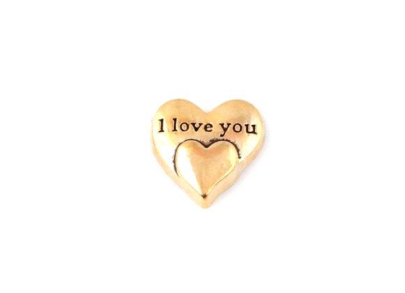 I Love You Double Heart Charm