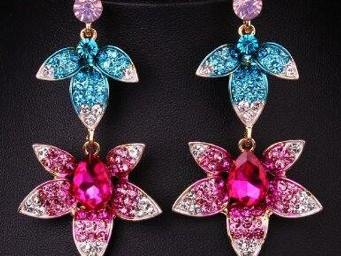 Lucia Earrings Royal Blue & Pink