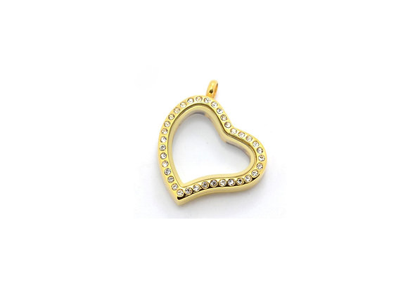 Gold Curved Heart Crystal Locket