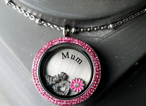 Pink Double Crystal Locket for Mum