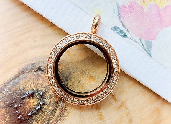 Midi Rose Gold Crystal Locket with Matted Face