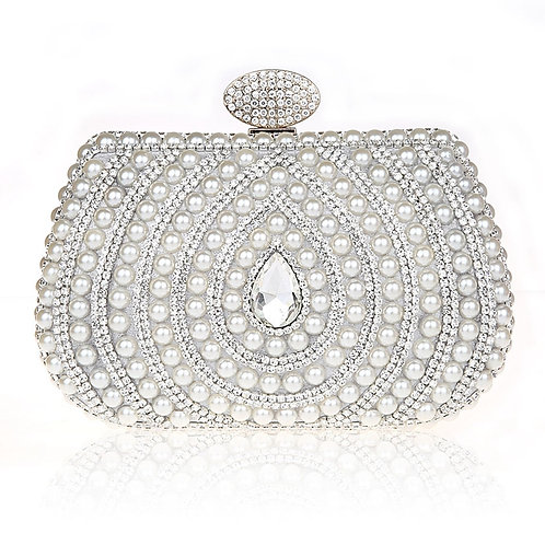 Monroe Silver Pearl & Crystal Clutch Bag