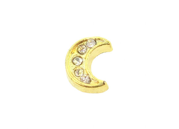 Moon Charm Gold with Crystals