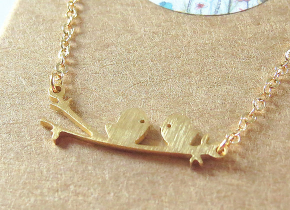 Love Birds Necklace Gold