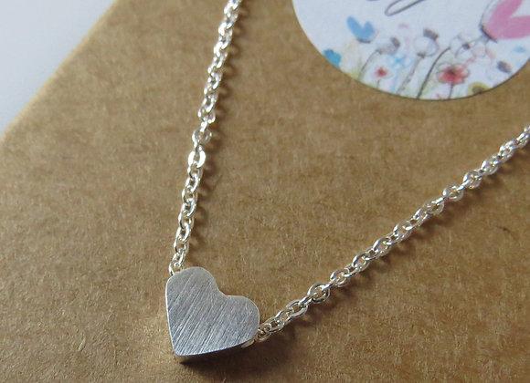 Heart Pendant Necklace Silver