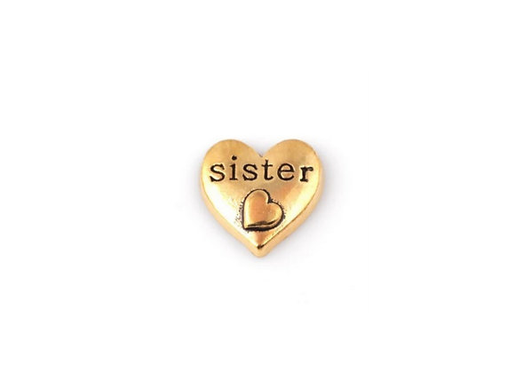 Sister Double Heart Charm- Gold