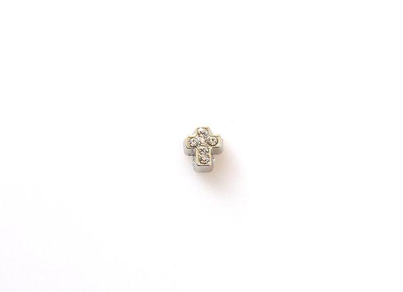Silver Crystal Cross Charm