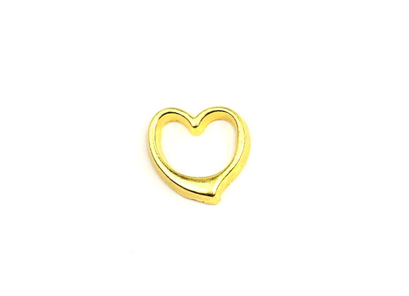 Gold Hallow Heart Charm