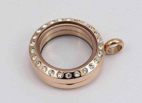 Mini Rose Gold Crystal Locket (Magnetic-Closing)
