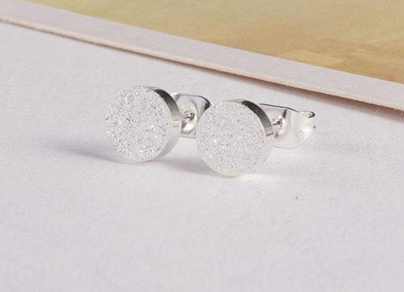 Glitter Stud Earrings Silver