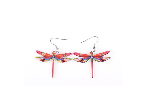 Dragonfly Earrings- Red Pink
