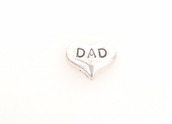 Dad Heart Charm- Silver