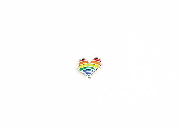 Rainbow Heart Charm Silver